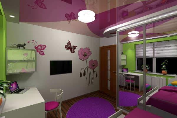 Какие натяжные потолки подойдут в детскую комнату для девочки?