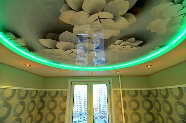 Натяжные потолки с рисунком, фото потолков