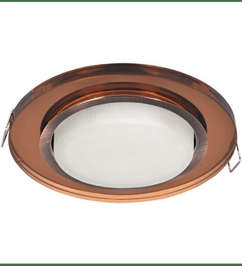 Ecola GX53 H4 Glass Стекло Круг черненая медь - янтарь 38x126