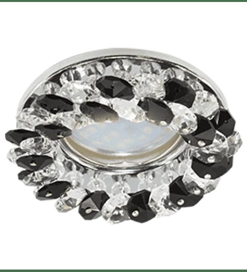 Ecola Light MR16 CD4141 GU5.3 Светильник встр. круглый с хрусталиками Прозрачный и Черный/Хром 50x90 (кd74)