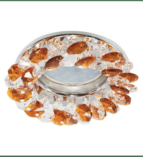 Ecola Light MR16 CD4141 GU5.3 Светильник встр. круглый с хрусталиками Прозрачный и Янтарь/Хром 50x90 (кd74)